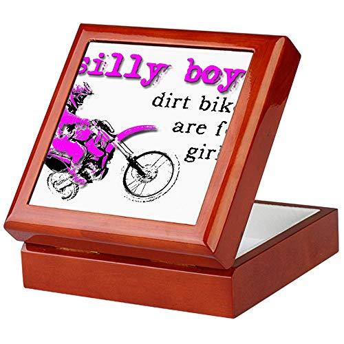 CafePress Dirt Bikes are for Girls Motocross Bike Funny Keep Keepsake Box, Finished Hardwood Jewelry Box, Velvet Lined Memento Box