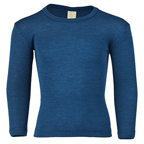 EcoAble Apparel Kids Long Sleeve Thermal Shirt Base Layer or Pajama Top, Organic Merino Wool Silk, Sizes 2-10 years (Height 92cm/35inches, Blue) (Womens 2 Crew Shirt Wool)
