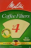 4 cup cone coffee filter - Melitta Cone Coffee Filters No. 4 Unbleached Natural Brown 40 Count Pack of 2 (80 Filters Total)