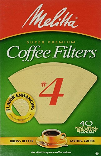 Melitta Cone Coffee Filters No. 4 Unbleached Natural Brown 40 Count Pack of 2 (80 Filters Total) ()
