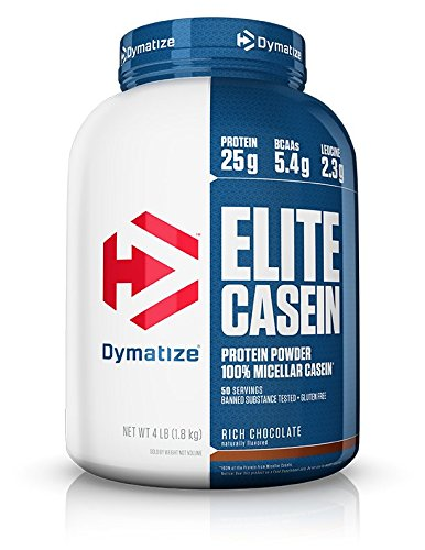 Dymatize Elite 100% Micellar Casein Slow Absorbing Protein Powder with Muscle Building Amino Acids, Perfect For Overnight Recovery, Slow Digesting, Rich Chocolate, 4 lbs by Dymatize