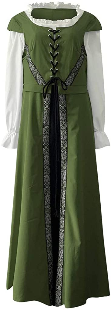 F/_Gotal Womens Renaissance Medieval Costume Dress Masquerade Vintage Gothic Floor Length Long Dress Cosplay Retro Gown