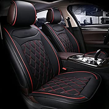 flexzon Universal Deluxe Black PU Leather Front Car Seat Covers Cushion