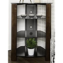 "WE Furniture 35"" Glass Media Storage Tower, Espresso"