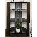 WE Furniture 35 Glass Media Storage Tower, Espresso