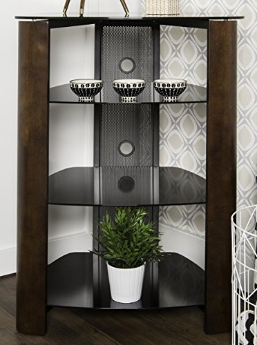WE Furniture 35'' Glass Media Storage Tower, Espresso by WE Furniture