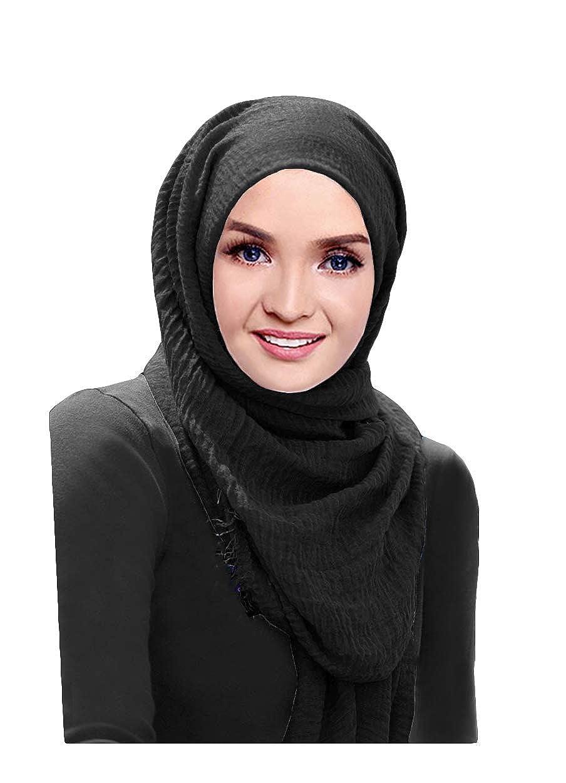 Hanas Womens Maxi Crumpled Cotton Shawl Hijab Scarf Pashmina Instan Hana 1 Loop One Size Black Clothing