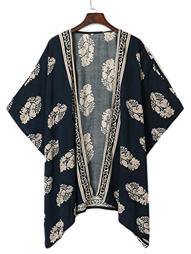Persun Women Navy Leaf Print Open Front Batwing Sleeve Kimono, Small, - Leaf Navy Print