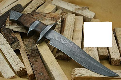 """Knife King Handmade Damascus Hunting Knife - Walnut Wood Handle-13.25"""" Fixed Blade Knife with Leather Sheath-Master Quality EDC Survival Knife-Camping Knife Ideal Gift for Men and Women"""