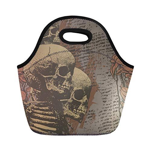 Semtomn Lunch Tote Bag Halloween Floral Skulls Engraved Retro Vintage Music Abstract Alternative Reusable Neoprene Insulated Thermal Outdoor Picnic Lunchbox for Men Women for $<!--$13.90-->