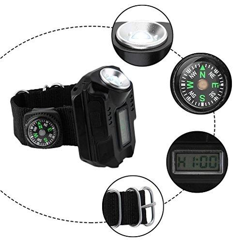 Multipurpose便利腕時計デジタル表示Combine 2 + 2モードProtable緊急懐中電灯Suit for in /アウトドア活動キャンプ釣りハンティング修理作業ライトサバイバルIdeaギフトwsi-74