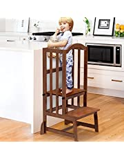 DORPU Learning Step Stool for Kids, Height Adjustable Toddler Kitchen Standing Tower with Double-Side Art Board, Anti tip-Over Mother's Helper