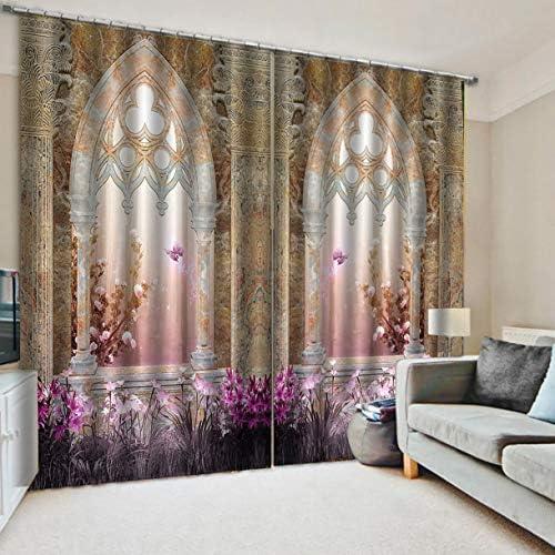QinKingstore 建物プリントカーテンルーム3dカーテンウィンドウドレープBJQ-1280(4)js150 * 166cmトレンディなリビングルームの寝室の停電