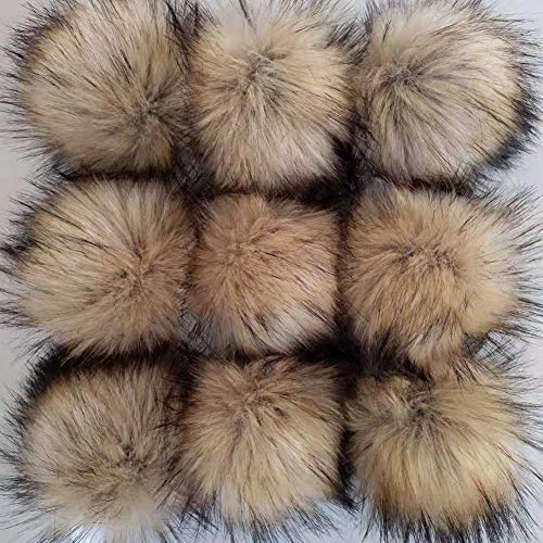 CIEOVO 24 Pieces Faux Fur Pom Pom Ball DIY Fur Pom Poms for Hats Shoes Scarves Bag Pompoms Keychain Charms Knitting Hat Accessories (Natural Color)