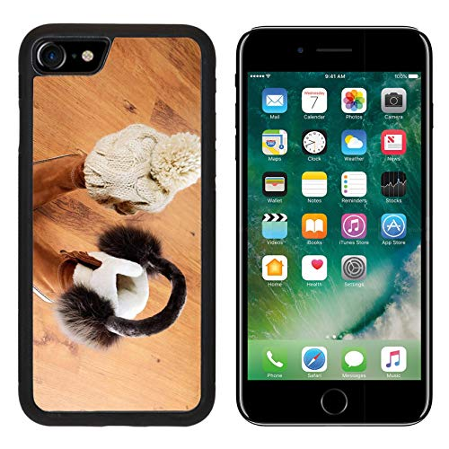 Luxlady Apple iPhone 8 Case Aluminum Backplate Bumper Snap iPhone8 Cases Image ID: 34389622 Winter Boots hat and Fur Headphones on The Floor Horizontal Format