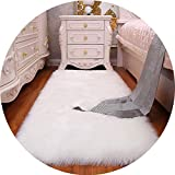 Luxury Rectangle Soft Sheepskin Fluffy Area Rug Faux White Fur Carpet Shaggy Long Hair Solid Mat Living Room Seat Pad Home Decor,A,90x120cm
