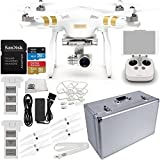 DJI Phantom 3 Professional Quadcopter w/ 4K Camera, 3-Axis Gimbal & Manufacturer Accessories + Extra DJI Battery + SSE Aluminum Hard-Shell Case + Quick-Release Snap On/Off Prop Guards + MORE