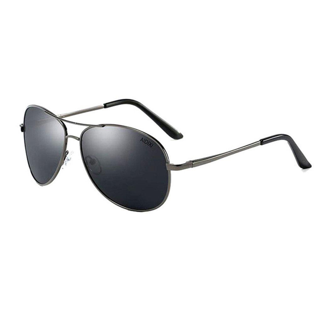 AIDIXI Men women sunglasses Premium Military Style Classic Aviator Sunglasses, Polarized, 100% UV protection (Black/Black 2)