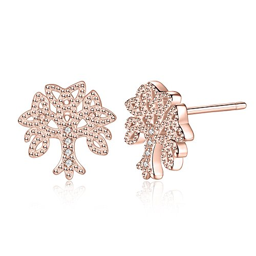 Silver Ancient Tree of Life Symbol Stud Earrings,Rose Gold Color (Cute Tree Stud) (Tattoo Paper Michaels)