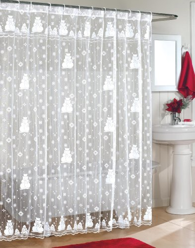 Snowman Lace Fabric Shower Curtain