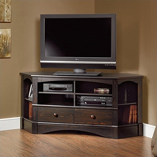 Sauder Harbor View Corner TV Stand in Antiqued Paint (Harbor View Tv Stand)