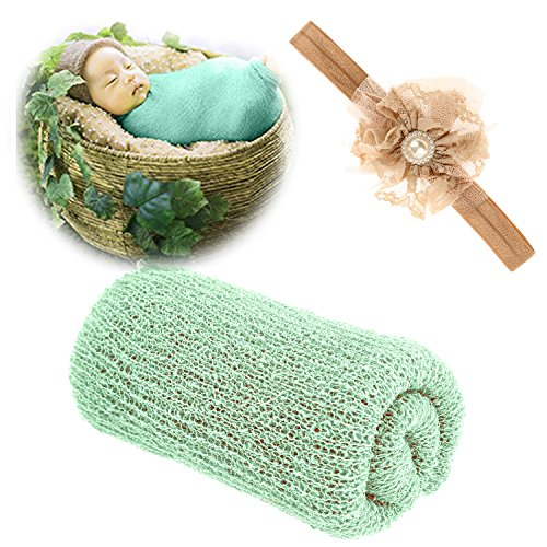 Newborn Baby Photography Props - Long Ripple Wrap Blanket and Lace Beads Headband (Green) -