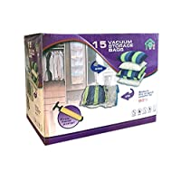 ABO Gear Vacuum Storage Bags Space Saver Bags Vacuum Sealer Bags 15pcs for Clothes Towel Blanket Storage Bags Travel Hand-Pump Included