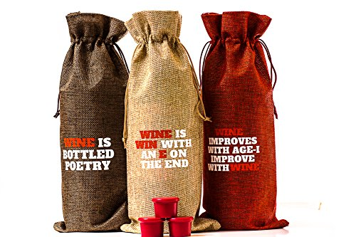 Jute Wine Bag and Red Wine Stoppers Pack Funny Quotes Printed Fun Gift Accessory