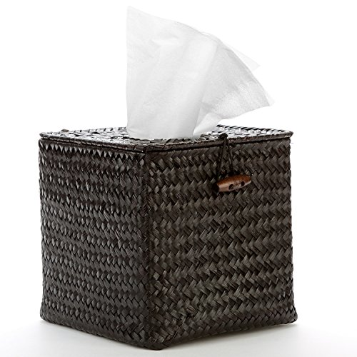Decorative Woven Black Seagrass Refillable Facial Tissue & Napkin Holder Box w/ Hinged Top Lid - MyGift by MyGift