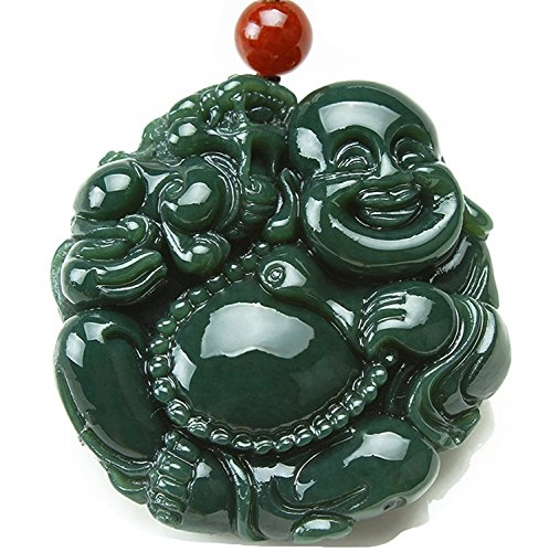 - c1lint7785631 100% Pure Natural Jade fine Hand Carved Lucky Happy Laughter Maitreya Buddha Necklace Pendant