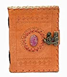 LEATHER JOURNAL Writing Notebook Handmade Leather Bound Daily Notepad For Men & Women Unlined Paper Medium 7 x 5 Inches, Best Gift for Art Sketchbook, Travel Diary & Notebooks to Write in