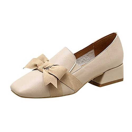 Yudesun Mujer Zapatos de Tacón - Verano Mocasines Zapatillas Individuales De Lazo Salvaje Cabezal Cuadrado Retro Viento Británico Pequeños Zapato Cuero: ...
