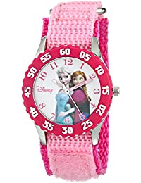 Kids' W000969 Frozen Anna and Elsa Time Teacher Watch with Pink Nylon Band