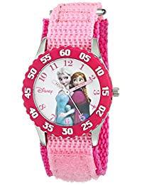 Disney Kids W000969 Anna Snow Queen Elsa Stainless Steel Pink Bezel Nylon Strap Watch