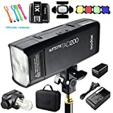 Godox AD200 200Ws 2.4G TTL Flash Strobe Speedlite 1/8000s HSS 2900mAh Battery with X1T-S Wireless Trigger Transmitter for Sony DSLR Camera + BD-07 Barn Door & Honeycomb Grid and 4 Color Gel Filters