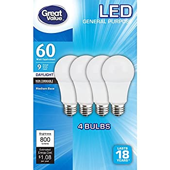 (4-Pack) Great Value 60W Replacement Bulbs 9W Non-Dimmable LED A19 in Daylight White (5000K, E26, Energy Star, 18 Year Life, 800 Lumens)