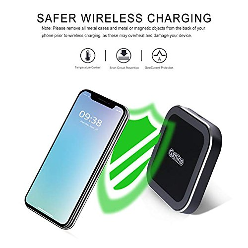 Fast Wireless Charger - Qi Certified Metal Wireless Charger with Anti Slip Rubber Pad for Apple iPhone x / 8/8 plus/Samsung Galaxy Note 8 / S8 / S8 Plus S7 / S7 Edge (Black)