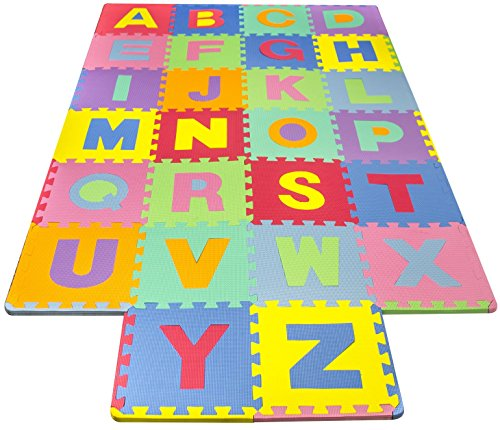 Matney Foam Mat of Alphabet Puzzle Pieces– Great for Kids to Learn and Play – Interlocking Puzzle Pieces