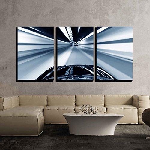 Night Traffic Shoot from the Window of Rush Car Motion Blur Steet Light x3 Panels
