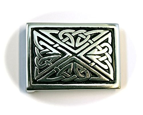 - Square Celtic Triquetra Interchangeable Snap Belt Buckle