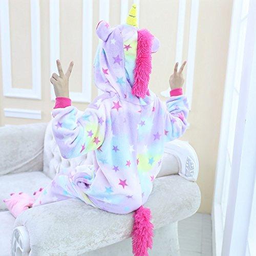 Children's Unicorn Pajamas Animal Costume Kids Kigurumi Cosplay Onesie Halloween Gift (Age:9-10Years (Height 51.2-55.1 Inch), Star Unicorn)