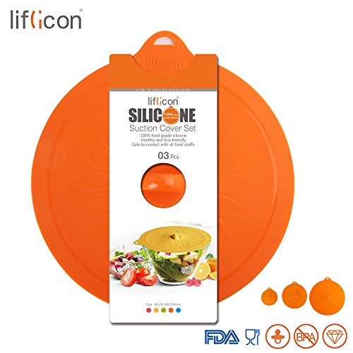 Liflicon Silicone Suction Lids Colorful Food Covers-Airtight Seal Microwave Safe BPA Free Mugs Pots Bowls Lids-Orange Set
