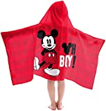 Disney Mickey Mouse Oh Boy Super Soft & Absorbent Kids Hooded Bath/Pool/Beach Towel - Fade Resistant Cotton Terry Towel 22.5'' Inch x 51'' Inch (Official Disney Product)