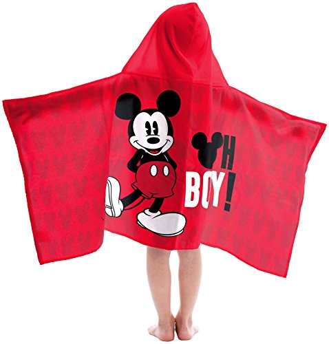 Disney Mickey Mouse Oh Boy Super Soft & Absorbent Kids Hooded Bath/Pool/Beach Towel - Fade Resistant Cotton Terry Towel 22.5 Inch x 51 Inch (Official Disney Product)