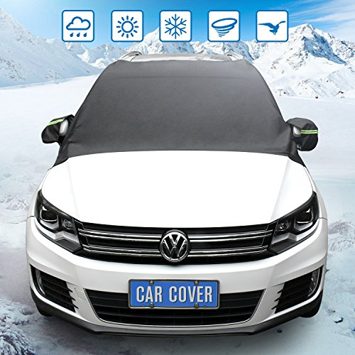 Large Windshield (Windshield Snow Cover,Extra Large Waterproof Windshield Cover - Snow, Ice, Frost Guard No More Scraping - Door Flaps Windproof Fits Most Car, SUV, Truck, Van with 96