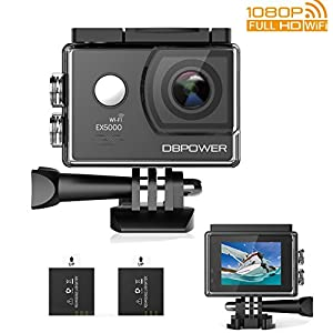 DBPOWER EX5000 Action Camera WiFi 1080P HD Sport Camera 14MP 170 Degree Wide Angle 2 Inch LCD Screen 2 Rechargeable Batteries 16 Accessories Kits