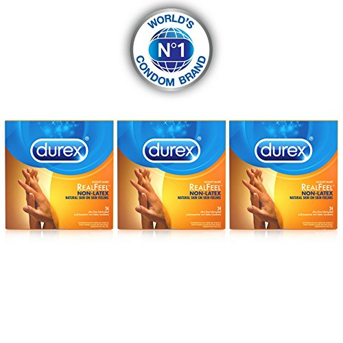 Durex Condom Real Feel Non Latex Condoms, 72 Count (3x24) - Ultra Fine & Lubricated for skin on skin feeling
