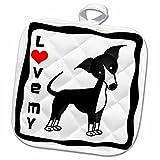 3dRose Janna Salak Designs Dogs - I Love My Italian Greyhound Black - 8x8 Potholder (phl_25373_1)