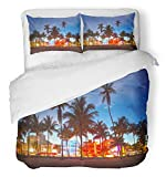 Emvency 3 Piece Duvet Cover Set Breathable Brushed Microfiber Fabric Miami Beach Florida Hotels and Restaurants at Sunset on Ocean Drive World Bedding Set with 2 Pillow Covers Full/Queen Size