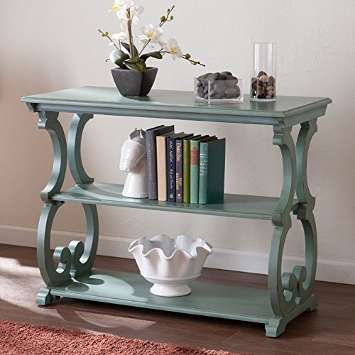 Scroll Antiqued Lamp Table - Southern Enterprises Bradbury Scroll Console Table in Agate Green